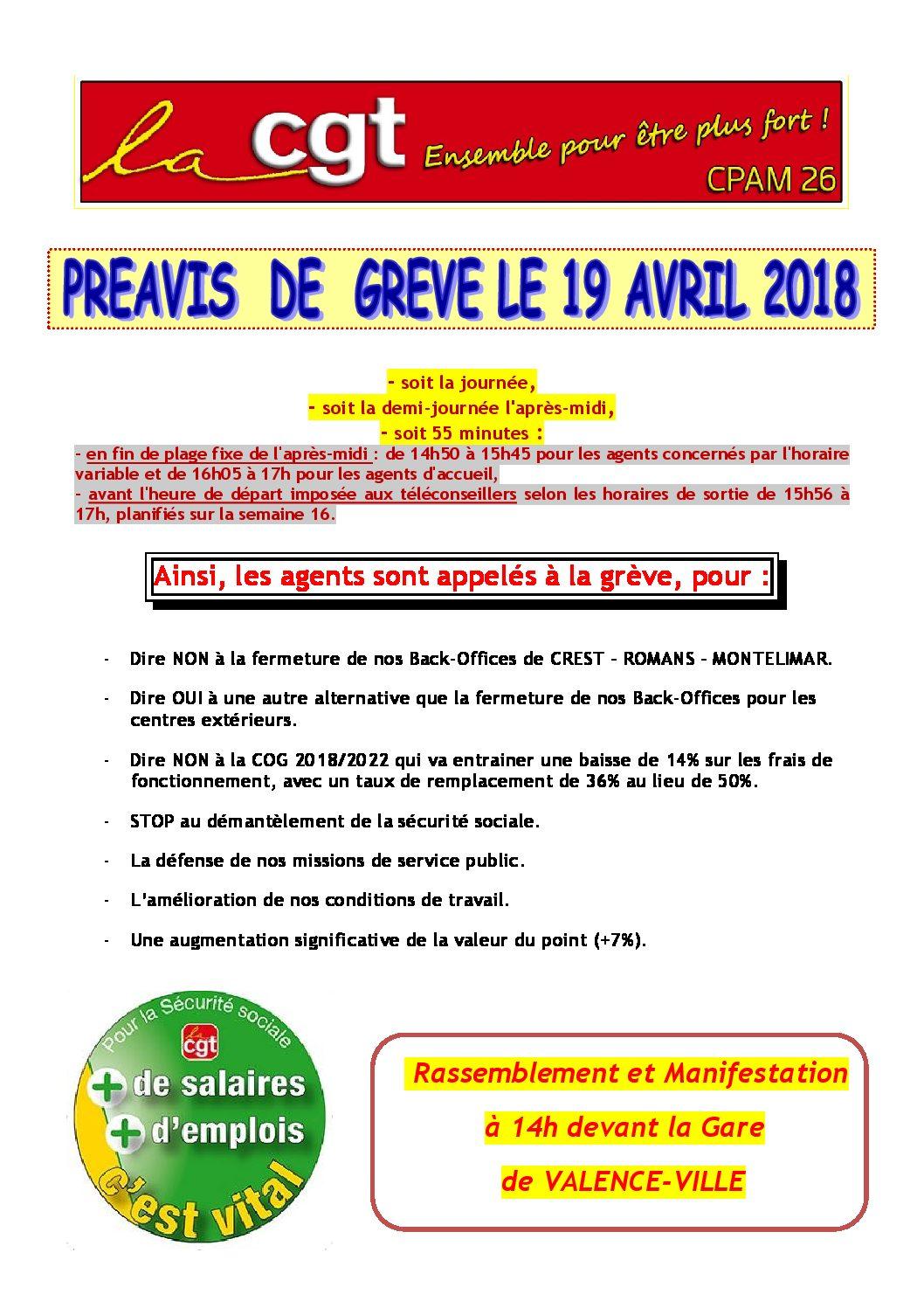 Appel à la grève à CPAM de la Drôme 19 avril