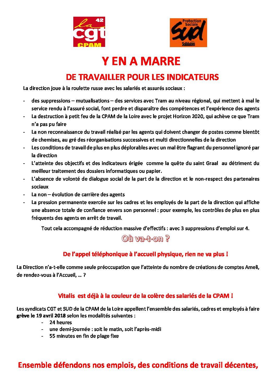 Appel pour le 19 avril à la CPAM de la Loire