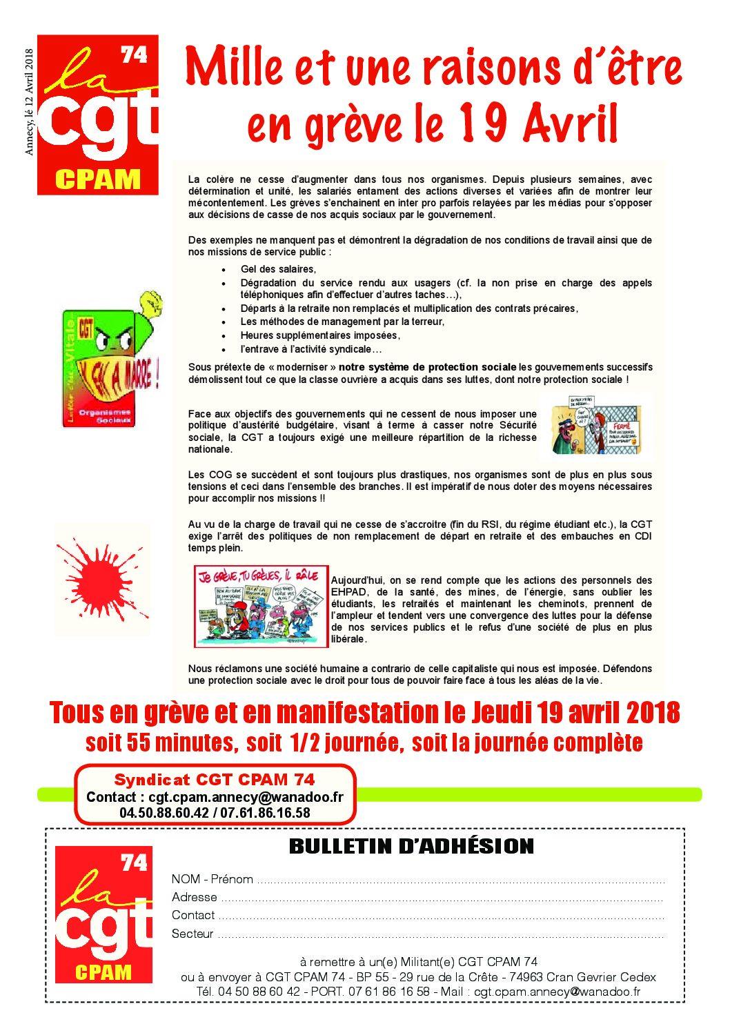 Appel à la Grève à la CPAM de Haute-Savoie le 19 avril