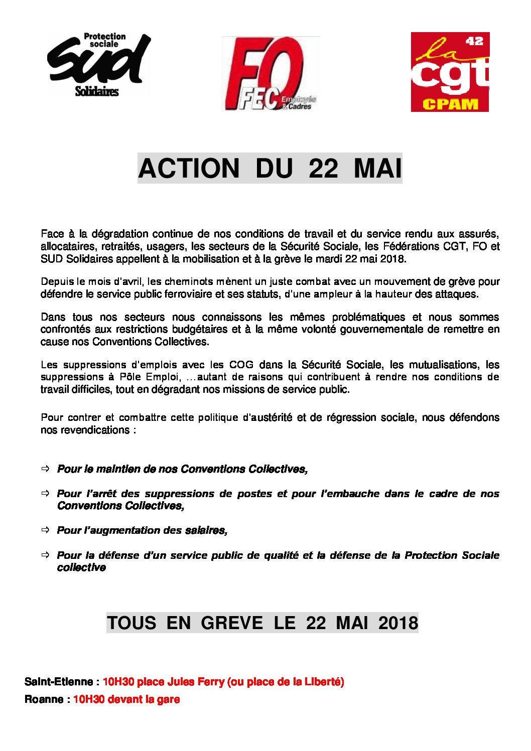 CPAM de la Loire : tract 22 mai
